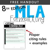 FREE HANDOUT - MLA 8TH EDITION CITATION RULES