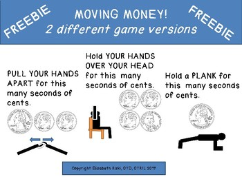 FREEBIE MOVING MONEY Sample Game Gross Motor Counting Coins k 1 2 3
