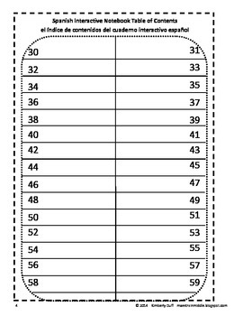 FREEBIE Maestra In Middle Spanish Interactive Notebook Table of Contents