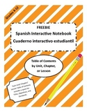 FREEBIE Maestra In Middle Spanish Interactive Notebook ToC