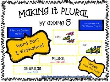 FREEBIE - Making Plurals by Adding S - Word Sort & Worksheet