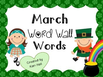 FREEBIE March Word Wall Vocabulary Words