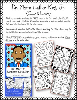 Martin Luther King, Jr. Color & Learn Pages ~ Social Studies & Reading