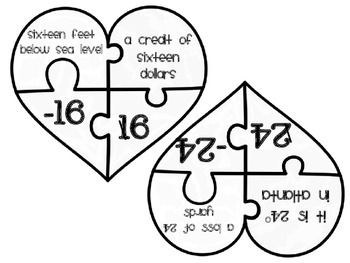 {FREEBIE} Matching Integers and Their Opposites Valentine Activity