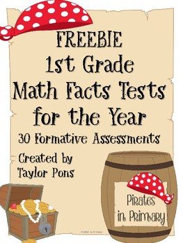 FREEBIE Math Facts Tests by Pirates in Primary