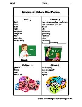 FREEBIE Math Keywords Chart by Third Grade Cupcakes | Teachers Pay ...