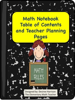 {FREEBIE} Math Notebook Table of Contents and Teacher Planning Page