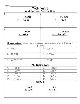 FREEBIE Math Quiz Review