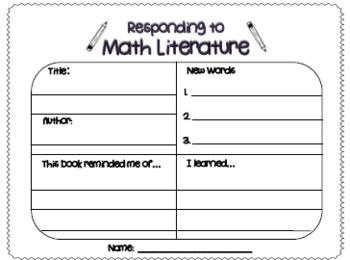FREEBIE! Math Response Sheet: Responding to Math Literature