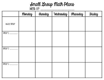 FREEBIE Math Small Group Weekly Lesson Template