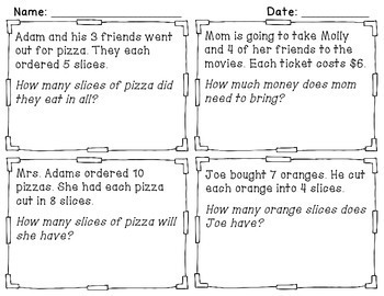 Math TASK CARDS {Multiplication} Word Problems + Homework! - PREVIEW!