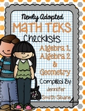 FREEBIE Math TEKS Checklists for Algebra 1, Algebra 2 and