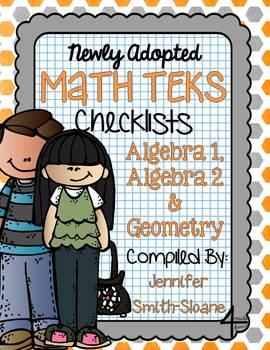 FREEBIE Math TEKS Checklists for Algebra 1, Algebra 2 and