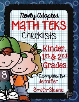 FREEBIE Math TEKS Checklists for Kindergarten, 1st and 2nd Grade