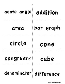 FREEBIE Math Vocabulary Review Relay Game