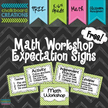 FREEBIE: Math Workshop Expectation Signs (Green Chevron)