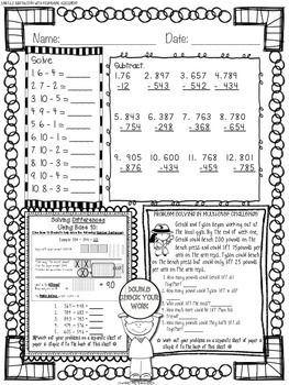 FREEBIE! Mathtastic Common Core Subtraction Practice Pages & Assessments Sampler