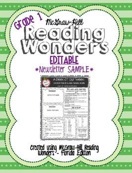 {FREEBIE!} McGraw-Hill Reading Wonders EDITABLE Weekly Newsletter {SAMPLE!}