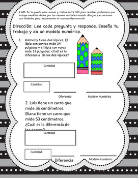 FREEBIE Measurement Word Problems in Spanish