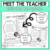 FREEBIE: Meet Your Teacher Editable Pages (Black & White and Color)