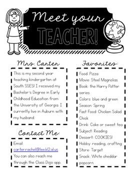 FREEBIE - Meet Your Teacher Editable handout