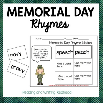 FREEBIE Memorial Day Rhyme Match
