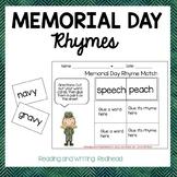 FREEBIE Memorial Day Rhyme Match