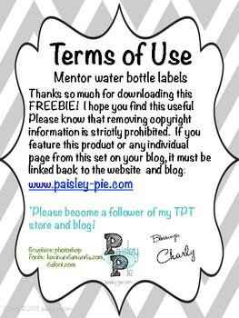 "FREEBIE- Mentor ""Thank You"" Water Bottle Labels"