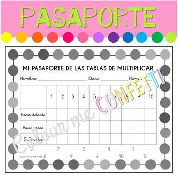 FREEBIE - Mi pasaporte de las tablas de multiplicar - Colour me Confetti
