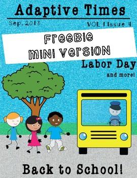 FREEBIE Mini Magazine September Back to School Math Reading Recipe Sped