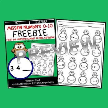 FREEBIE Missing Numbers 0-10