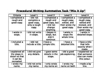 FREEBIE!! Mix it up procedural writing