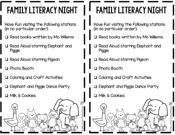 FREEBIE Mo Willems Literacy Event Planning