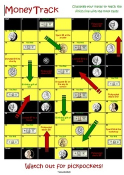 FREEBIE: Money Track board game US currency