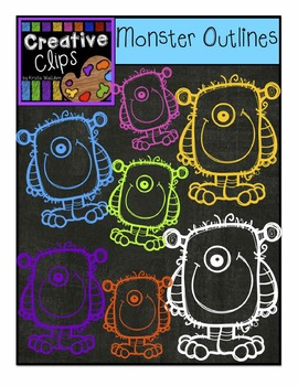 FREEBIE! Monster Outlines {Creative Clips Digital Clipart}