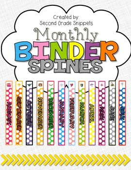 *FREE* Monthly Binder Spines (1 inch)