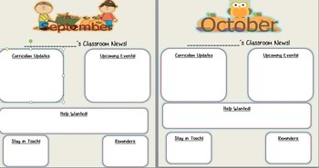 freebie monthly classroom newsletter templates editable tpt