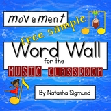 FREEBIE: Movement Word Wall for Music, Movement & Dance: Rainbow Music Theme