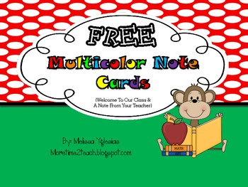 FREEBIE: Multicolor Note Cards