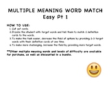 FREEBIE Multiple Meaning Words Flashcards - Easy Pt 1