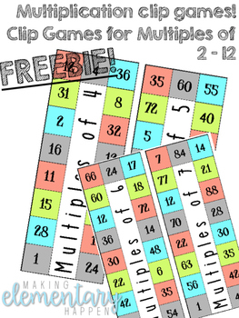 FREEBIE! Multiplication Clip Games!