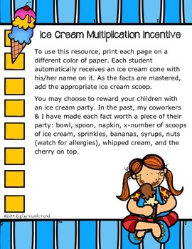 {FREEBIE} Multiplication Ice Cream Incentive