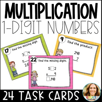 FREEBIE Multiplying by 1-Digit Numbers Differentiated Task Cards
