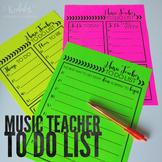 FREEBIE - Music Teacher To Do Lists