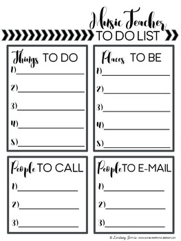 FREEBIE - Music Teacher To Do Lists