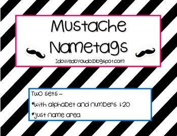 FREEBIE! Mustache Name Tags