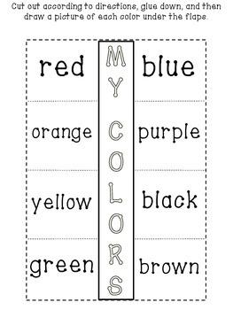 FREEBIE! My Colors Flip-Flap Sheet