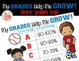 FREEBIE Editable My Grades Help Me Grow Grading Scale: Sports