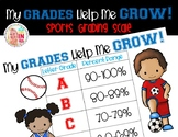 FREEBIE Editable My Grades Help Me Grow Grading Scale: Sports