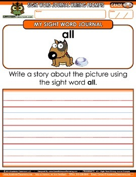 FREEBIE My Sight Word Journal Writing Prompts Level-A {Literacy packet NO PREP}